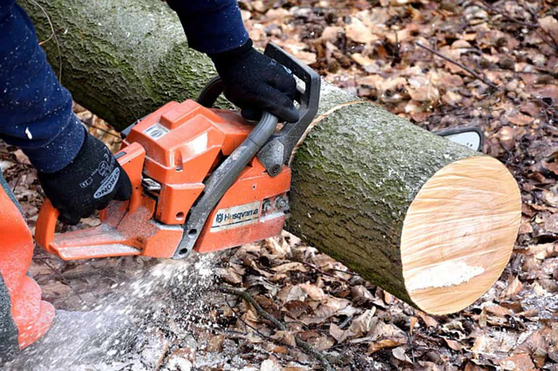 cutting wood with chainsaw